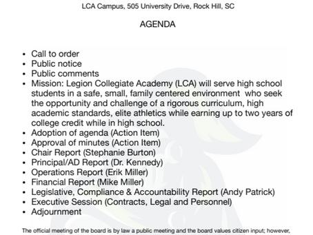Board Meeting Agenda - 01/30/2020