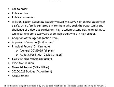 Board Meeting Agenda 6-25-2020. To call in: 803-659-3380, PIN 6040#