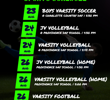 Athletic Schedule 8/23 to 8/28