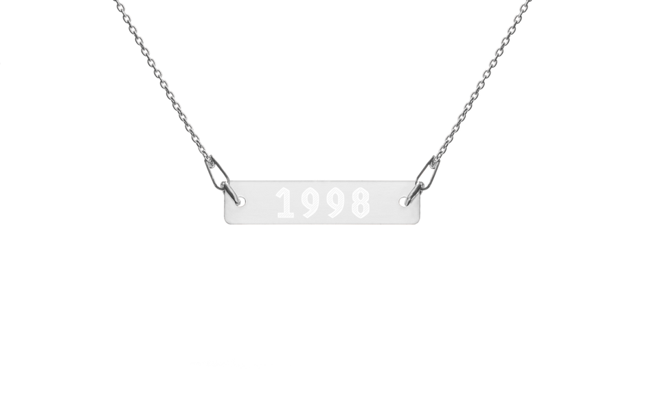 1998 Engraved Silver Bar Chain Necklace