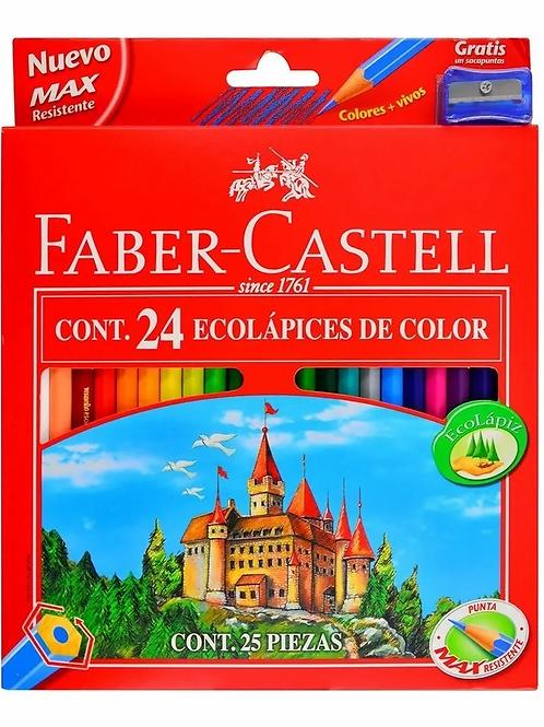 Lapices de Colores Faber Castell 24 triangular + sacapuntas