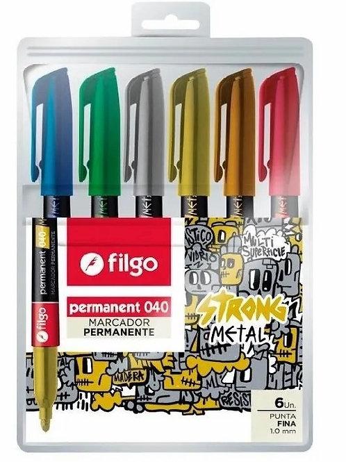 Marcador permanente Filgo 040 metal 6 colores