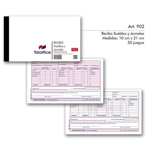 Talonario 902 recibo de sueldos y jornales x 1 u. Tal