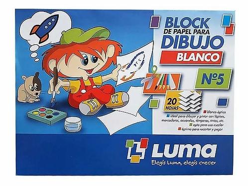 Block dibujo Luma N°5 blanco x 20 hjs