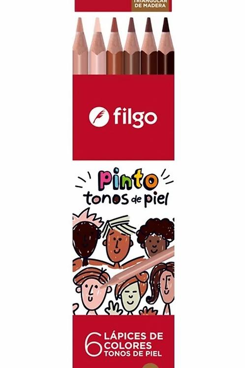 Lapices de Colores Filgo x 6 u. skin tones.