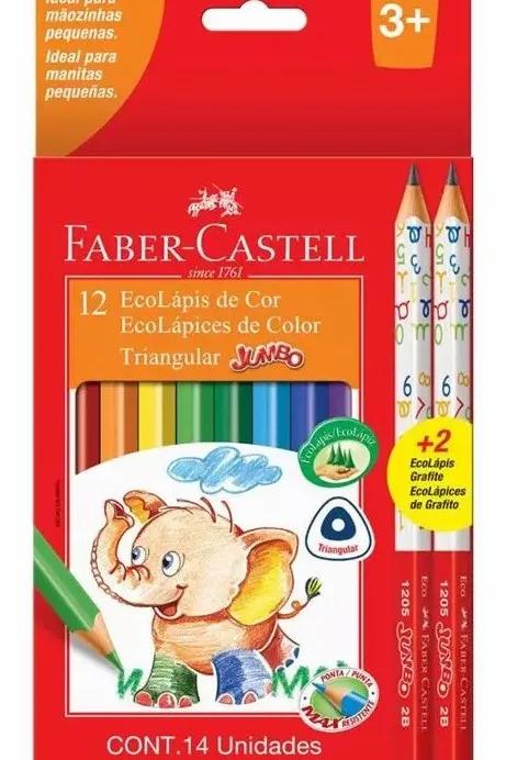 Lapices de Colores Faber Castell jumbo x 12 u. + 2 grafito