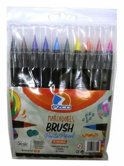 Fibras Ezco x 10 colores brush pincel.