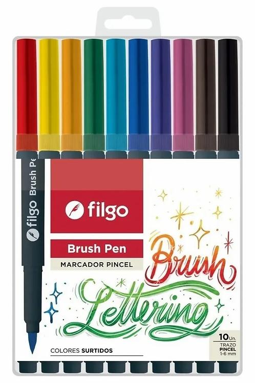 Fibras Brush Pen punta pincel Filgo x 10 u.