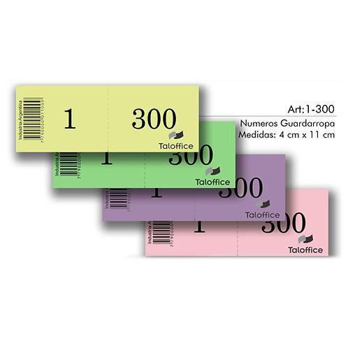 Talonario 1 - 300 números x 1 u. Tal