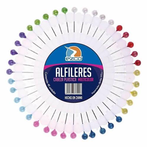 Alfileres Ezco x 40 u. cabeza plastica multicolor x 1 u.