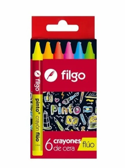Crayones Filgo Pinto Fluo x 6 u.