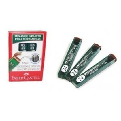 Minas Faber Castell 0,5 / 0,7 x 1 u cajita de 12 minas