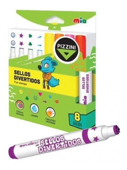 Fibras Pizzini sellos 8 colores x 1 u. divertidos