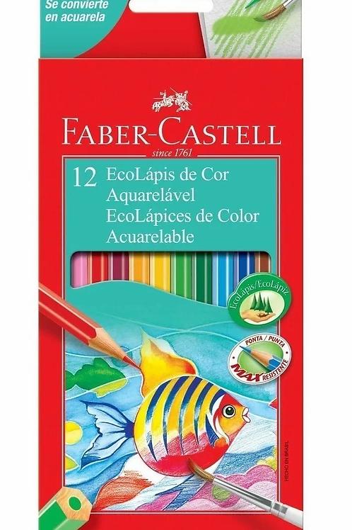 Lapices de Colores Faber Castell acuarelables 12 largos