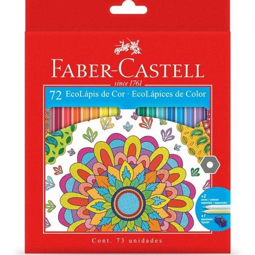 Lapices de Colores Faber Castell 72 largos con sacapuntas.