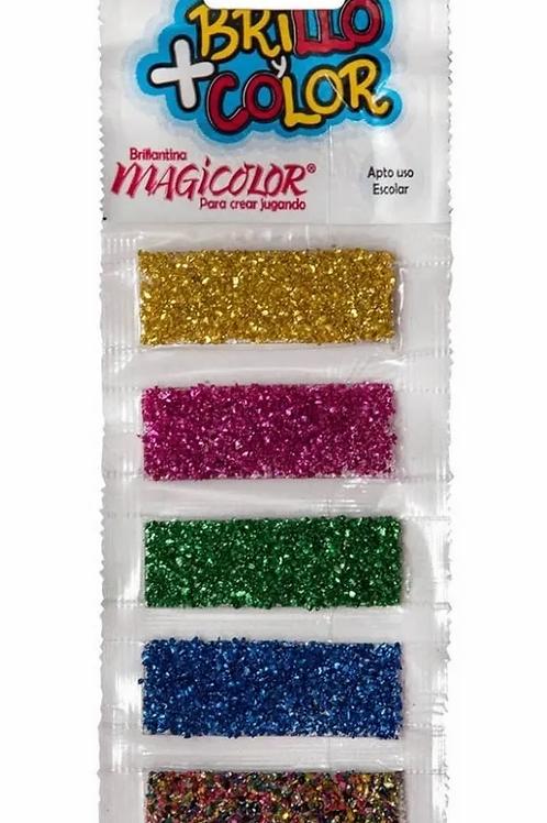 Brillantina Magicolor tira x 5 colores blister.