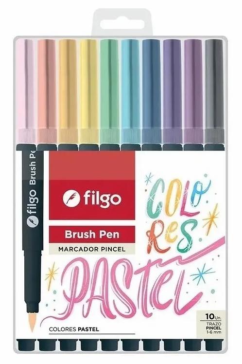 Fibras Brush Pen punta pincel pastel Filgo x 10 u.