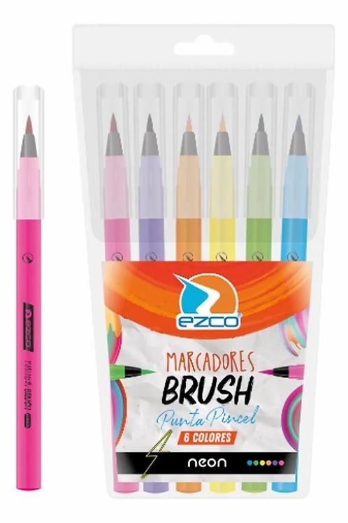 Fibras Ezco x 6 u. Brush pincel neon.