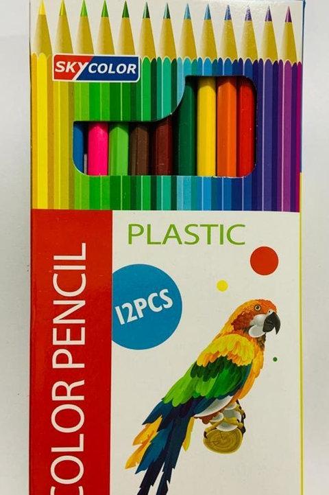 Lapices de colores x 12 u. Skycolor largos