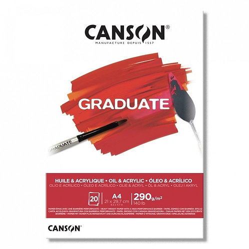 Block Canson graduate oleo y acrilico A4 290 grs. 20 hjs.