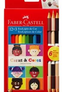 Lapices de Colores Faber Castell 12+3 caras piel