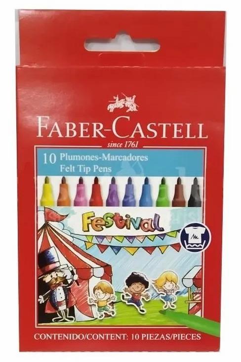 Marcadores Fibras Faber Castell Festival x 10 u. lavables