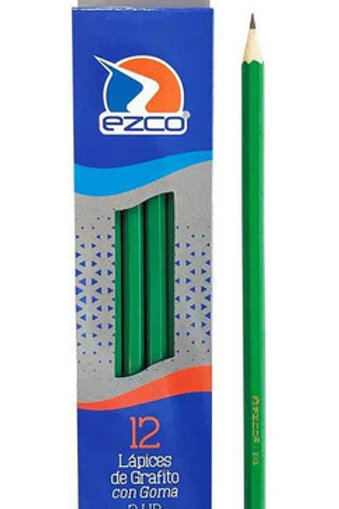 Lapiz negro Ezco 2HB x 12 u. con goma.