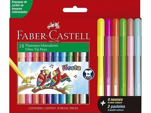 Marcadores Faber Castell fiesta 18 fibras  (12+4N+2P).