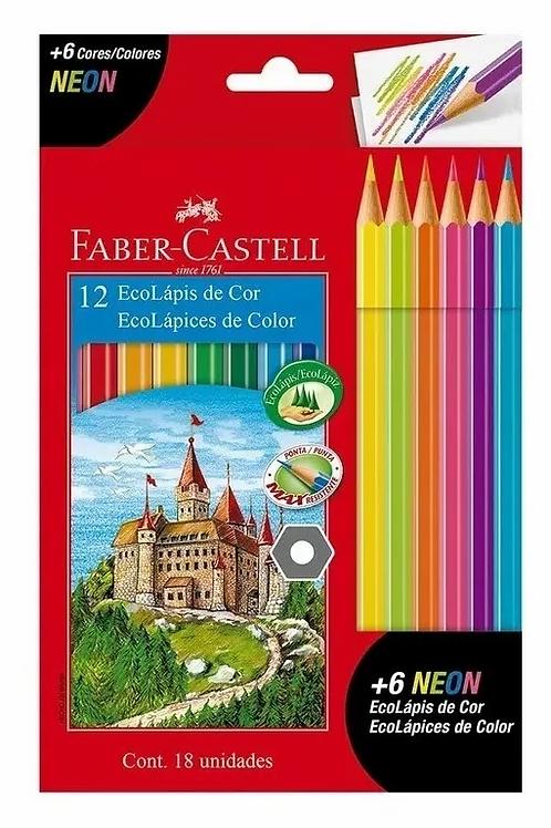 Lapices de Colores Faber Castell 12 + 6 neon=18 u