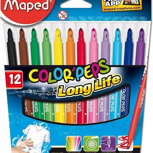 Marcadores Fibras Maped Long Life x 12 u.