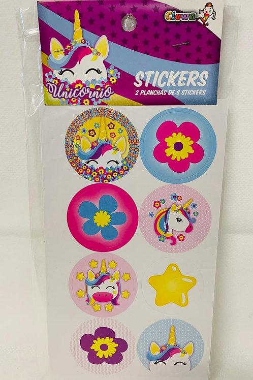 Stickers 8 u  x 2 planchas originales Clown Personajes