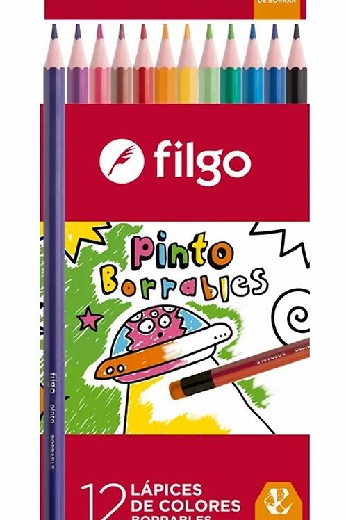 Colores Filgo x 12 u. largos borrables.