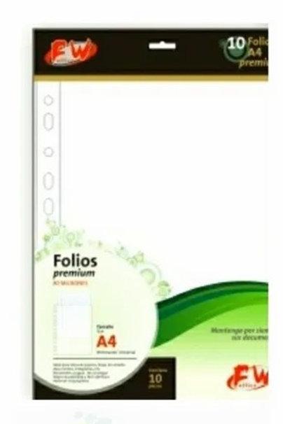 Folios FW A4 PP premium 80 mic x 10 u.