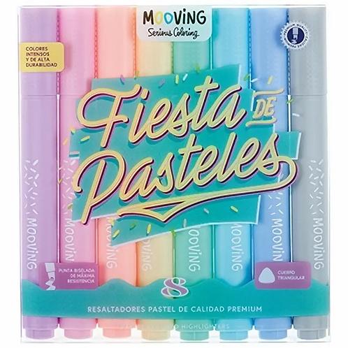 Resaltador Mooving pastel 8 colores