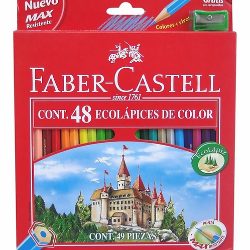 Lapices de Colores Faber Castell 48 largos + sacapuntas