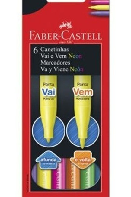 Marcadores Fibras Faber Castell VaiVem fluo x 6 fibras