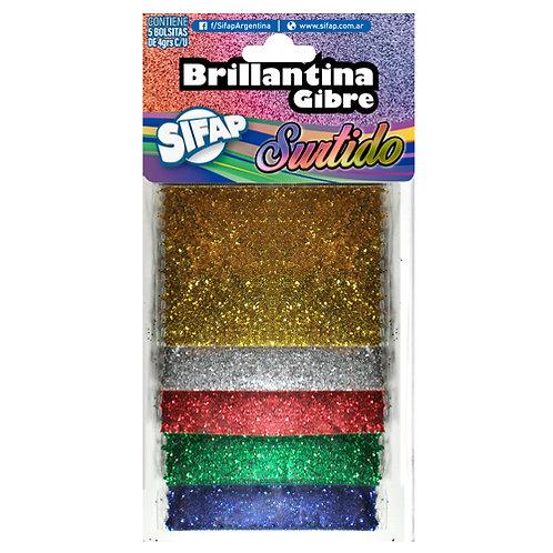 Brillantina Gibre Sifap x surtidas 5 colores blister 4gr cada