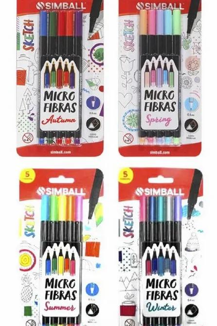 Microfibra Simball x 5 colores estuche