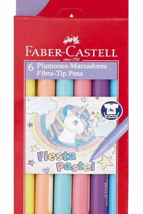 Fibras Faber Castell Fiesta pastel x 6 u.