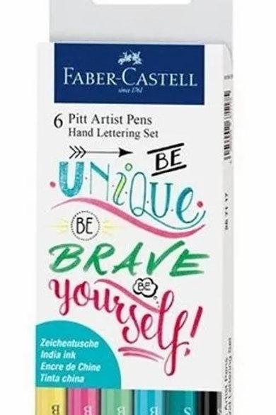 Marcadores Faber Castell artist lettering  6 fibras pastel Pitt