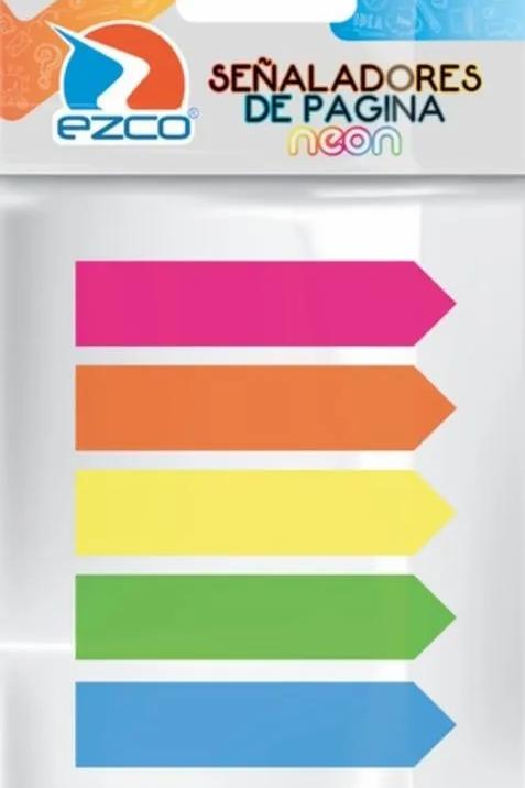 Señaladores Ezco De paginas Neon 25 hjas 5 colorese