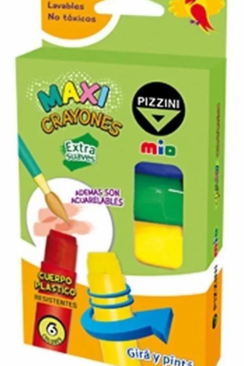 Crayones Pizzini Maxi Retractil 6 colores