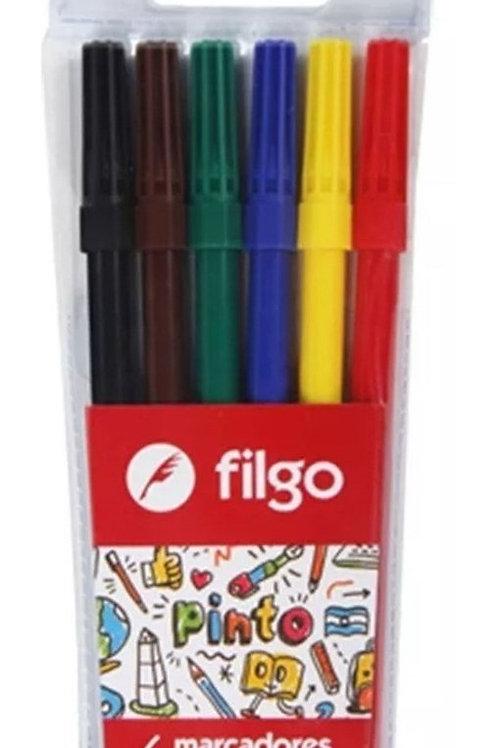 Marcadores Fibras Filgo Pinto x 6 u.