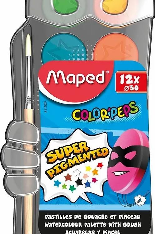 Acuarelas Maped x 12 colores box super heroe