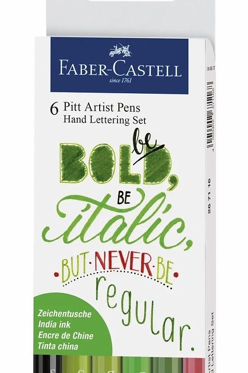 Marcadores Faber Artist Lettering x 6 fibras verdes Pitt