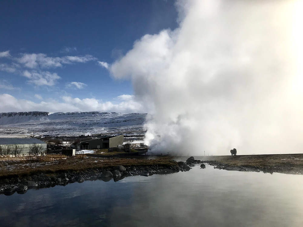 Krauma geothermal spa in Iceland in winter