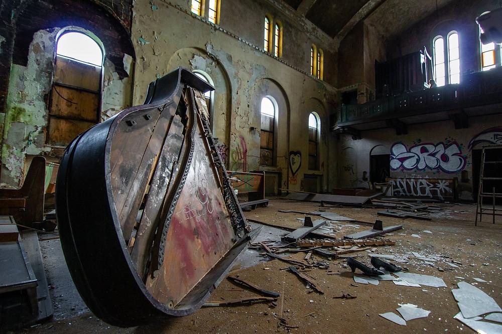 The abandoned St. Margaret Mary Catholic Church