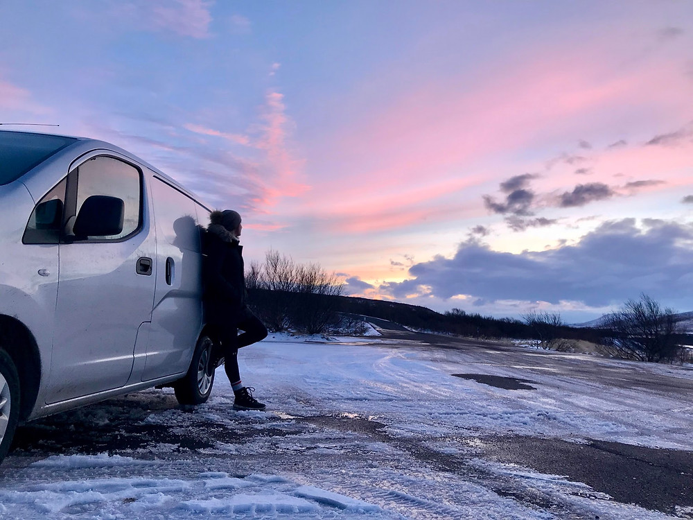 Campervan with evening sky in Iceland in Winter