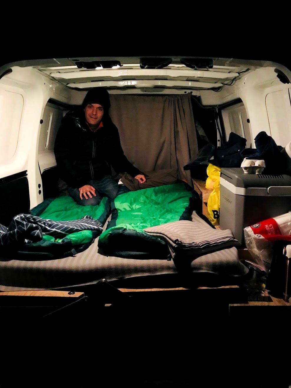 Sleeping in a campervan in Iceland