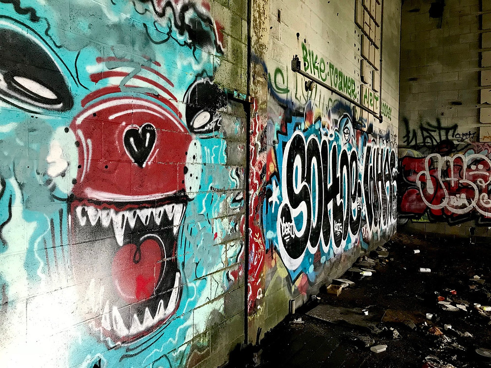 Graffiti inside the abandoned Detroit Water and Sewage plant
